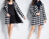 Anysize classic black&white plaids WOOL jacket woolen coat plus size coat plus size clothing spring autumn winter coat y310