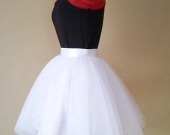 White tulle skirt, Adult sewn tutu, puffy tulle skirt, knee length, short wedding skirt, plus size clothing, satin waistband, 4 layers Tulle