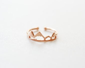 Shiny Pink Rose Vermeil Gold Mountain Adjustable Ring- 18k gold plated over Sterling Silver Adjustable Ring, Mountain Peak Range Ring, 262