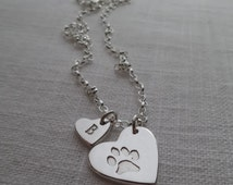 Paw print necklace - heart pendant with initial heart / handmade of fine silver / sterling silver chain - keep your furbabies close always