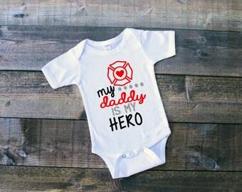 My Daddy Is My Hero Firefighter Bodysuit Tshirt Baby Boy Clothing Baby Girl Clothing Fireman Shirt Fireman Dad