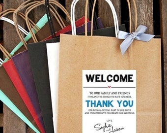 WELCOME and THANK YOU ... Wedding Welcome Bag | Hotel Welcome Bag | Wedding Guest Bag