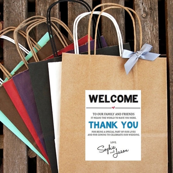 WELCOME And THANK YOU ... Wedding Welcome Bag Hotel Welcome