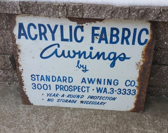 "Vintage Acrylic Fabric Awnings metal sign 24"" x 18"""