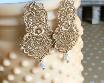 Lace Chandelier Earrings - Gold Lace Earrings - Lace & Pearl Earrings - Beaded Lace Earrings - Lace Wedding Jewelry - Gold Lace Wedding