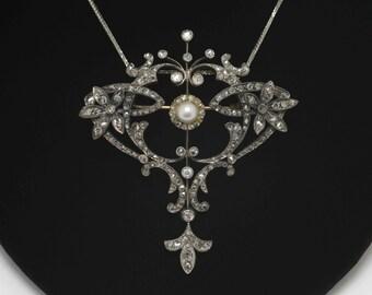 Antique Victorian Diamond Brooch Necklace Platinum Rose Cut Diamonds Old Mine Pearl Pin Fleur Di Lis French Belle Epoque' Pendant 1875