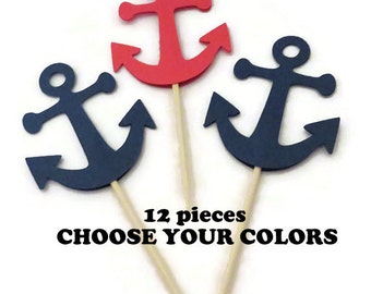 anchor cupcake toppers. Custom Colors. Nautical Baby Shower. Travel Wedding. Babys First Birthday. 12 CT. Cake Topper