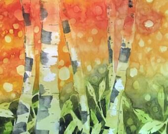 Western Landscape - Aspen Quintet - Colorado Fine Art Original Watercolor Painting