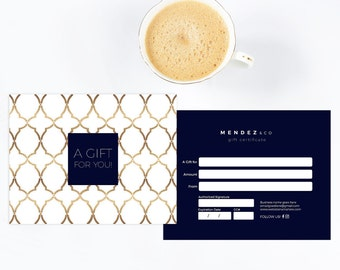 Elegant navy and gold double sided gift certificate template - Instant download