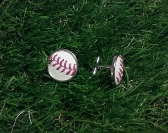Baseball Cuff Links- Classic- Silver Plated