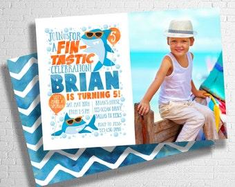 Shark Birthday Invitation | Shark Invite | Fin-tastic Shark Birthday | Ocean Theme Birthday | Under The Sea | Pool Party | DIGITAL FILE ONLY