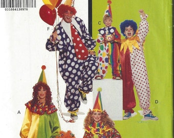 Butterick 6302 Children's / Boys' / Girls' Clown Costume vintage sewing pattern