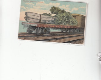C1910 Antique Postcard Exaggerated Head Of Celery On Flat Railroad Car