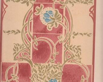"""Projet De Tapis/Rug 1911 Le Journal de la Decoration A/S Bonvallet,Parisa,Authentic,10.5"""" X 14.5"""" Art Nouveau"""