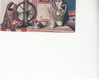Antique Czech Postcard Easter Greeting Spinning Wheel,Vase,Eggs,Horse,Ethnographic Textiles