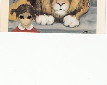 Little Big Eyed Girl Standing In Front Of A Lion/Keane Postcard 1962,Unused