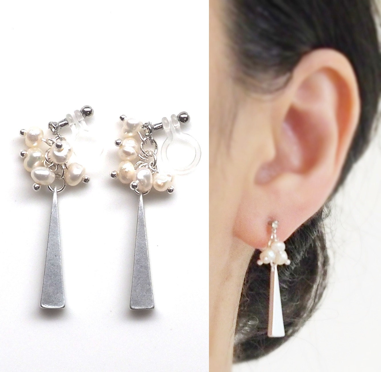 freshwater pearl clip on earrings silver triangle bar. Black Bedroom Furniture Sets. Home Design Ideas