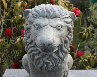 Classic Windsor Lion Statue,  Stone Gatepost Lion,  Garden Ornament, Made in Cornwall,  Cornwall Stoneware, Garden Decoration, Outdoors