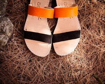 aelia apostasy sandals/handmade two straps greek sandals/orange pony skin and black leather/flats sandals