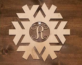 "12"" Wood Snowflake Laser Cutout Shape Winter Monogram Initial Unfinished"