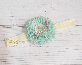 Floral Mint Headband, Baby girl headband, Flower Headband, Shabby Chic Headband, Mint Flower Headband, Birthday Headband, Mint