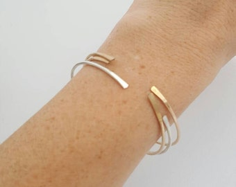 Mixed metal bangle set / sterling silver / gold filled /  bracelet / gift / simple jewelry / handmade