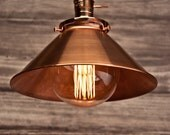Copper 10'' Cone Shade Industrial Hanging Pendant Light Fixture Rustic Vintage Retro
