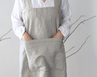 Heavy Linen Square-Cross Apron/Pinafore/No-ties Apron/Japanese Apron (with front pocket)- Natural Flax