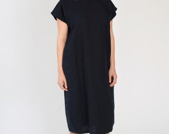 Linen Dress with Square Neckline - Navy