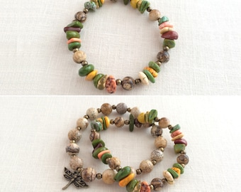 Boho stacking bracelet set, beaded stretch bracelet, stackable bracelet, stone boho bracelet, beaded stack bracelet, green, orange, yellow