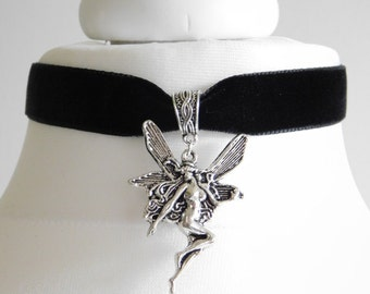 Black Velvet Fairy Choker Necklace Pendant - Pagan -Wicca - Goth