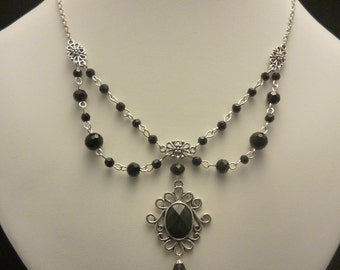 Gothic Black Beaded Necklace