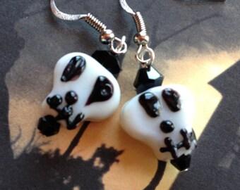 Halloween Jewelry, Halloween Earrings, Glass Skull Earrings