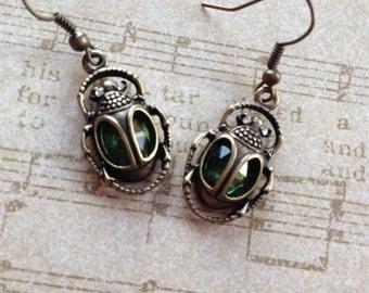 Beetle Earrings with Rhinestones Earrings, Gift Ideas, For Her, Jewelry, Earrings, Beetle Jewelry, Vintage Look