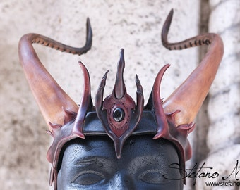 30% OF DISCOUNT - Tiara with leather demon horns - LARP and cosplay