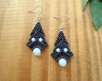 Opalite macrame earrings, boho earrings, micro macrame, fairy earrings, macrame jewelry, gemstone earrings, opalite jewelry, hippie earrings