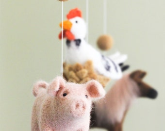 Farm animals baby mobile, Needle Felted Baby Mobile, Horse Baby Crib Mobile, Nursery Decor, Baby Shower Gift