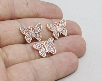 1 Pcs Micro Pave Butterfly, 12x17mm , Cubic Zirconia Butterfly , Rose Gold Plated Butterfly, Pendant Charms, zrcn232