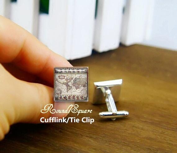 vintage word map cuff links, world map, personalized cufflinks, custom maps cufflinks, wedding cufflinks, round, square cufflinks, tie clips