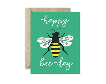 Honey Bee Birthday Card in Emerald Green, Funny Birthday Card, Happy Bee Day