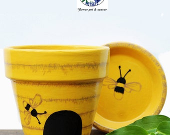 Painted Flower Pot - Bee Hive, Yellow, Terra Cotta Planter, Hand Painted, Clay Pot, Home or Garden Art, Small Pot, Spring, PPBH0416