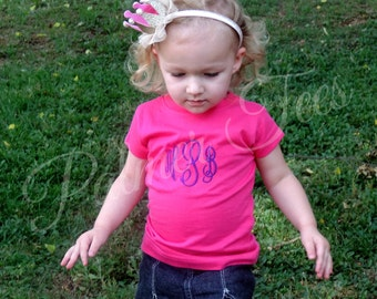 Toddler Girls Fine Jersey Tee Personalized with Name or Monogram (Embroidered)