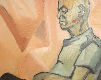 Vintage Modernist Old Man Portrait Oil Painting