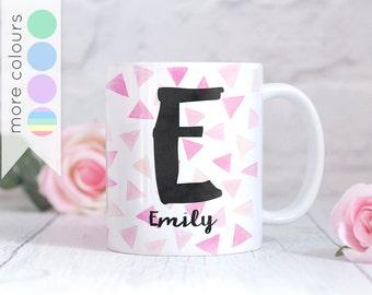 Personalised Geometric Mug - Triangle Pattern - Watercolour Confetti - Name, Initial, Monogram