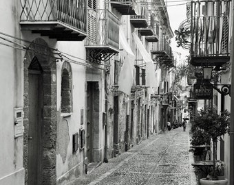 Black and White Europe photography, Sicily Italy Photo, Cefalu, Europe Decor, Travel Decor, Palermo, blaconies, wall art, fine art print