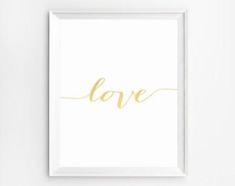 Love Typography, Love Print, Gold Foil Print, Wall Art Prints, Gold Foil Art, Love Typography, Gold Wall Art, Love Wall Art, Nursery Prints