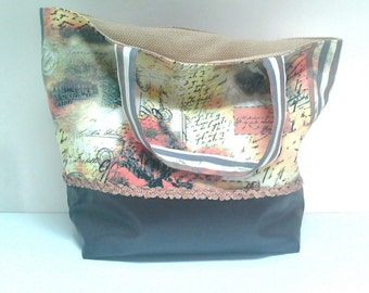Cotton canvas and faux brown leather tote bag / purse / faux leather tote bag / Tote with sequins and patchwork