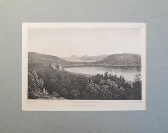 1820 Engraving of Lake Avernus, Matted - Elizabeth Frances Batty, Nature Print, Black and White Landscape Print