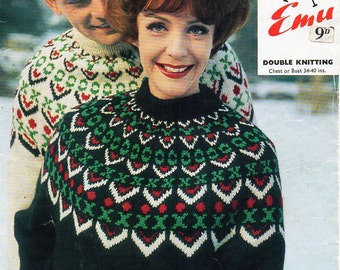 Mens Fair Isle Sweater Knitting Patterns : Sweater Knitting Patterns Cardigan Pullover Hat & Mitts/ Patons Outdoor K...
