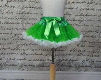 Baby Girls Tutu Pettiskirt in Green and White - Green Pettiskirt - Girls Pettiskirt - Ready to Ship.